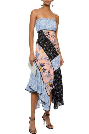 CINQ À SEPT Strapless patchwork floral-print silk crepe de chine dress
