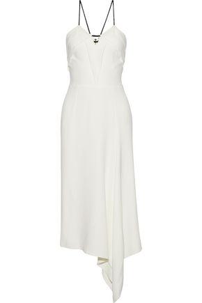 ROLAND MOURET Fazeley asymmetric braid-trimmed stretch-crepe midi dress