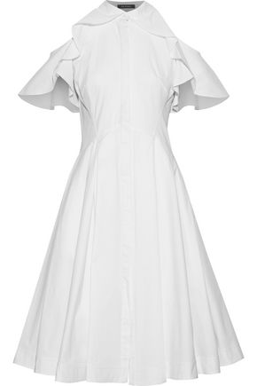 Cold Shoulder Ruffle Trimmed Cotton Poplin Shirt Dress by Zac Posen
