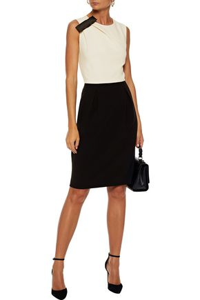 MAX MARA Cocco bow-embellished pleated two-tone crepe dress