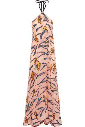 ROLAND MOURET Herringthore gathered floral-jacquard halterneck gown