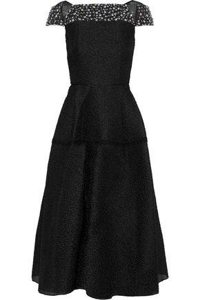 ROLAND MOURET Hadleigh embellished silk-blend cloqué midi dress