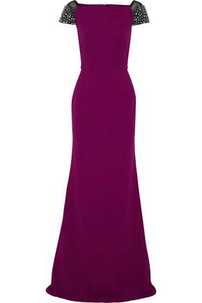 ROLAND MOURET Hepworth embellished two-tone crepe gown