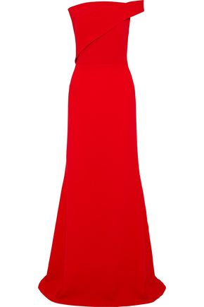 ROLAND MOURET Lockton one-shoulder wool-crepe gown