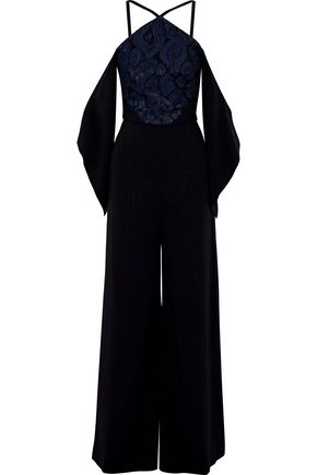 ROLAND MOURET Ovenden off-the-shoulder metallic fil coupé-paneled crepe jumpsuit