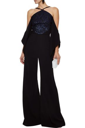 074d018dd1a3 ROLAND MOURET Ovenden off-the-shoulder metallic fil coupé-paneled crepe  jumpsuit