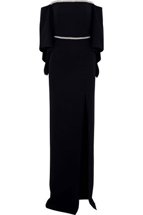 ROLAND MOURET Octon off-the-shoulder embellished crepe gown