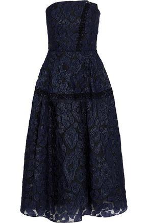 ROLAND MOURET Lydney strapless fil coupé organza midi dress