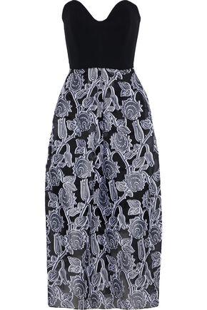 ROLAND MOURET Amesbury strapless cady-paneled fil coupé organza midi dress
