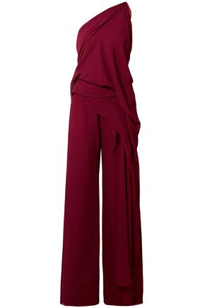 ROLAND MOURET One-shoulder draped silk-voile jumpsuit