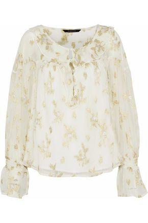 W118 by WALTER BAKER Alesha metallic ruffled jacquard chiffon blouse