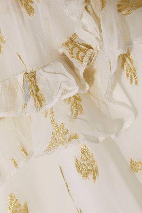 W118 by WALTER BAKER Tamisha metallic ruffled jacquard chiffon mini dress