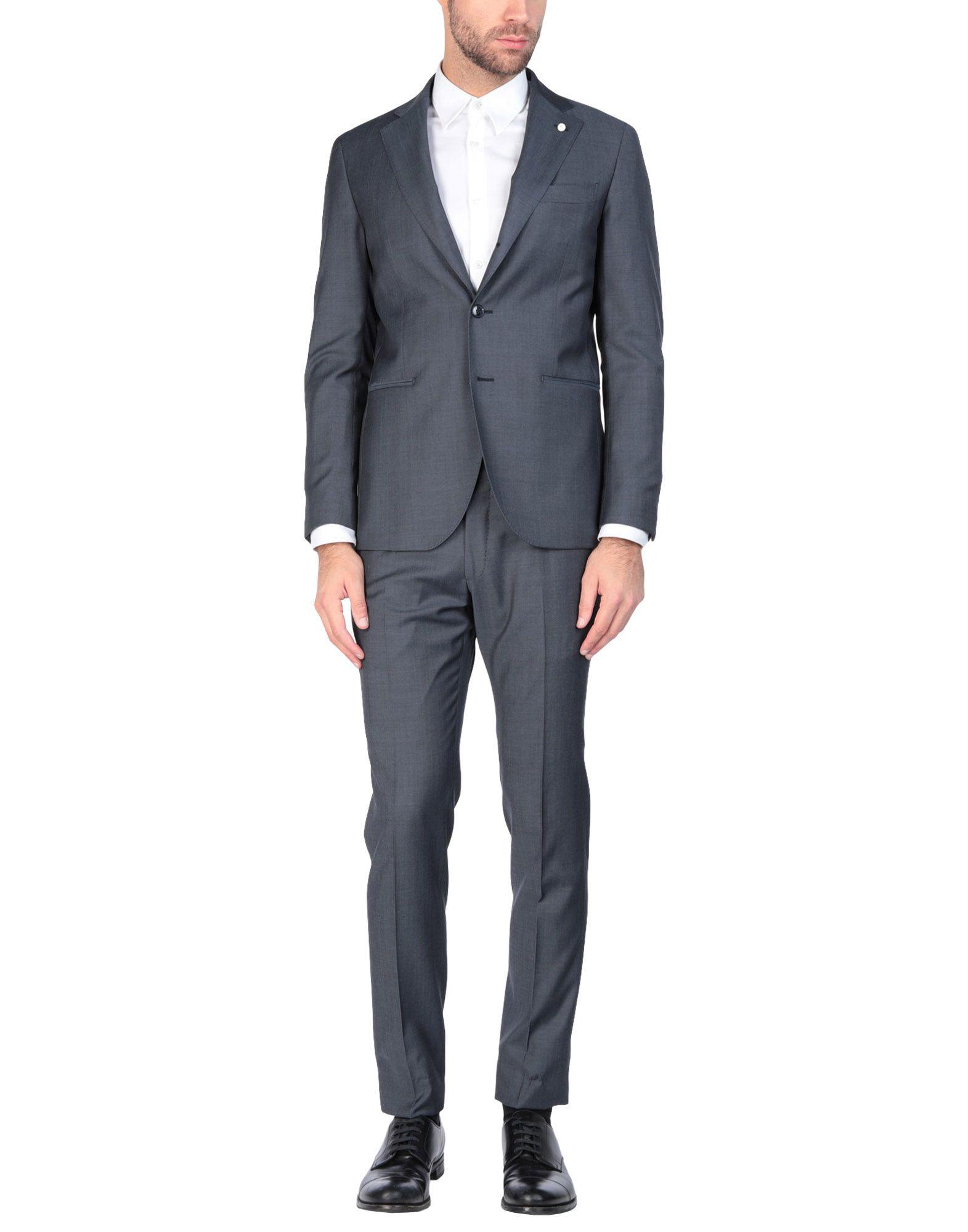 《送料無料》LUIGI BIANCHI Mantova メンズ スーツ ブルーグレー 46 バージンウール 100%
