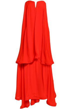 NICHOLAS Strapless layered crepe maxi dress