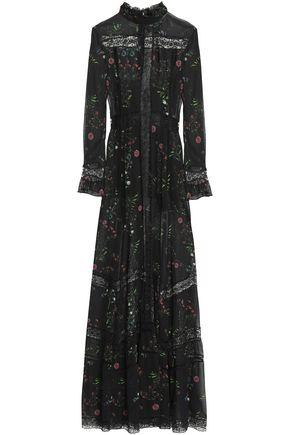 NICHOLAS Lace-trimmed ruffled floral-print crepe de chine maxi dress