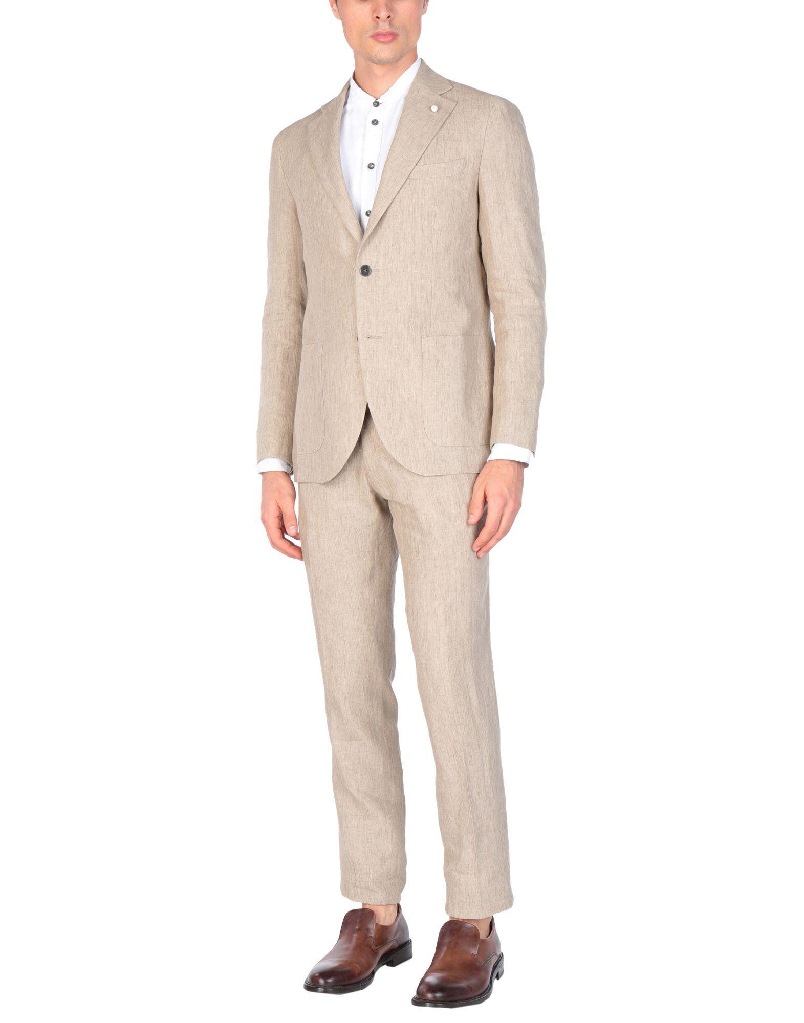 《送料無料》LUIGI BIANCHI Mantova メンズ スーツ サンド 46 麻 100%