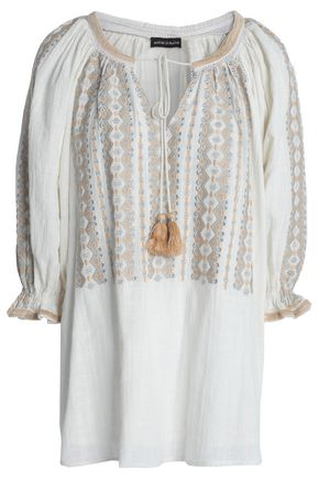 ANTIK BATIK Lully metallic embroidered cotton-gauze tunic