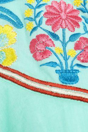 ANTIK BATIK Embroidered cotton-gauze top