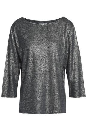 MAJESTIC FILATURES Metallic linen-blend jersey top