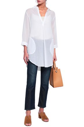 MAJESTIC FILATURES Paneled cotton-jersey and voile tunic