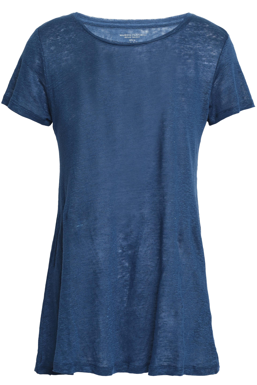 Majestic Filatures Woman スラブリネン Tシャツ Storm Blue Size 2