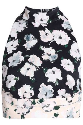 PROENZA SCHOULER Cropped printed satin-crepe top