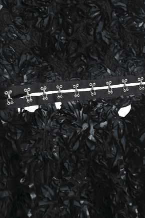 PROENZA SCHOULER Cutout floral-appliquéd crepe top