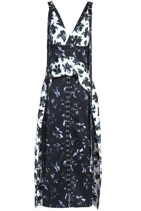 PROENZA SCHOULER Embellished floral-print paneled satin-crepe midi dress