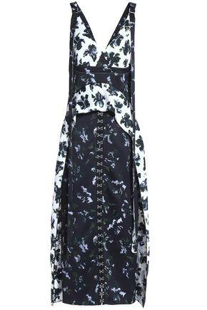 PROENZA SCHOULER Embellished floral-print paneled satin-crepe midi dress