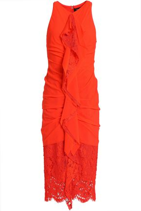 4da7bbc46a2 PROENZA SCHOULER Ruffled lace-paneled ruched cotton dress