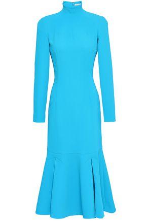 EMILIA WICKSTEAD Fluted crepe turtleneck midi dress
