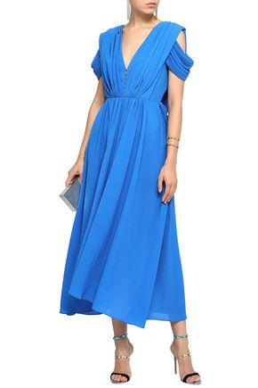 EMILIA WICKSTEAD Anderson draped crinkled crepe de chine midi dress