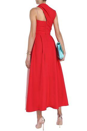 EMILIA WICKSTEAD One-shoulder pleated two-tone cloqué midi dress