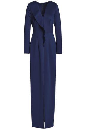 BLACK HALO Ruffled neoprene gown