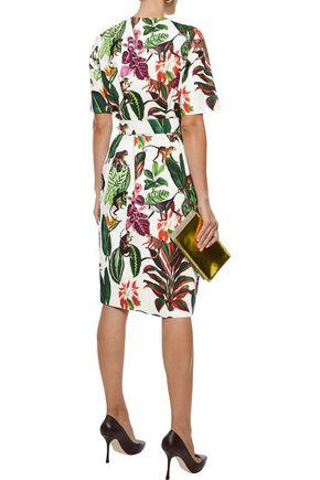 OSCAR DE LA RENTA Printed cotton-blend twill dress
