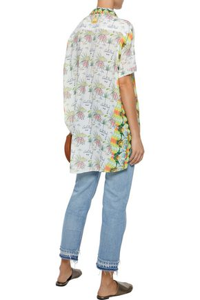 CAMILLA Sundowners crystal-embellished printed crepe de chine tunic