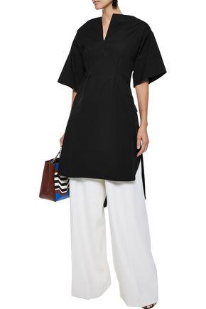 OSCAR DE LA RENTA Pleated cotton-blend poplin tunic