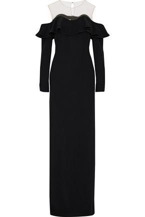 OSCAR DE LA RENTA Cold-shoulder tulle-paneled ruffled crepe gown