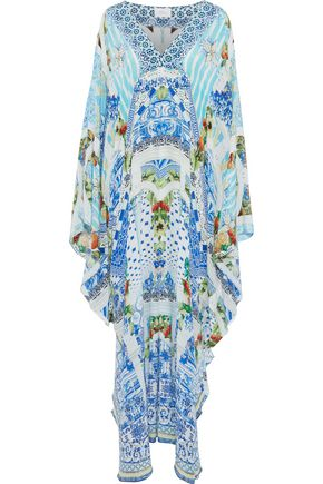 CAMILLA A Night To Remember embellished printed silk crepe de chine kaftan