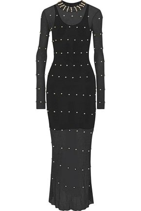 SONIA RYKIEL Faux pearl-embellished pointelle-knit maxi dress