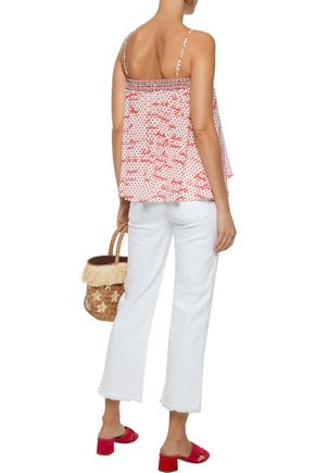 CAMILLA Strapless crystal-embellished printed silk crepe de chine top