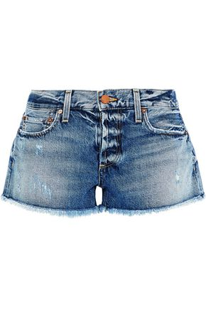 ALICE + OLIVIA JEANS Distressed denim shorts