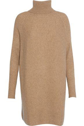 N.PEAL Oversized ribbed cashmere turtleneck mini dress