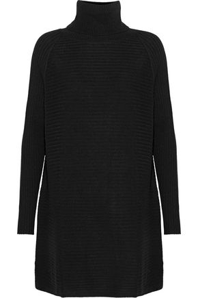 N.PEAL Ribbed cashmere turtleneck mini dress