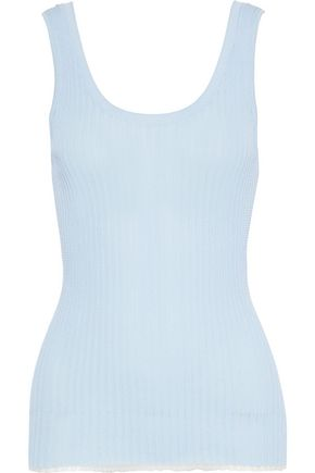 PROENZA SCHOULER Tulle-trimmed ribbed-knit tank