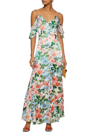 ALICE + OLIVIA Alves cold-shoulder floral-print fil coupé chiffon maxi dress