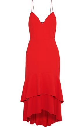 ALICE + OLIVIA Amina tiered crepe midi slip dress