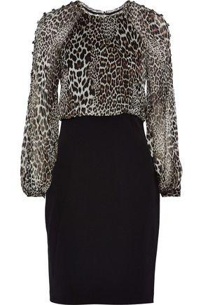 BADGLEY MISCHKA Leopard-print silk-chiffon paneled stretch-cady dress