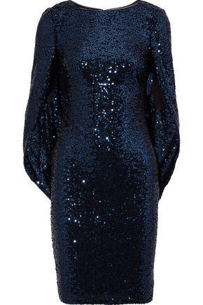 BADGLEY MISCHKA Cape-effect sequined tulle dress