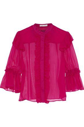 ALICE + OLIVIA Odele ruffle-trimmed silk-chiffon blouse
